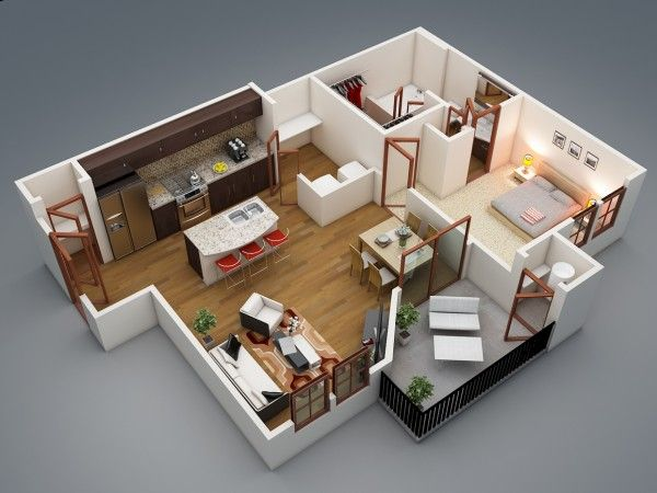 50 plans en 3d d appartement avec 1 chambres. Black Bedroom Furniture Sets. Home Design Ideas