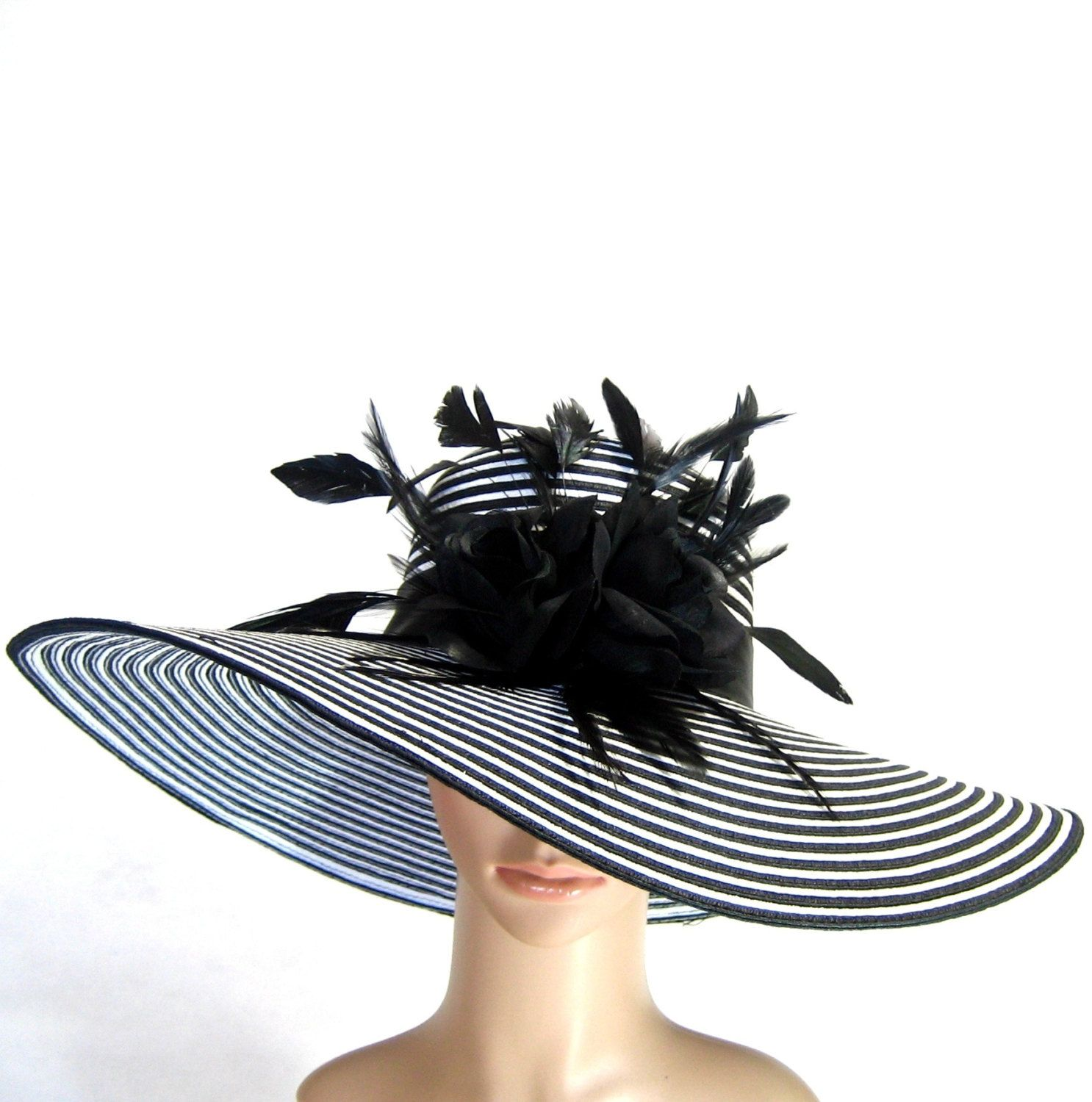 BLACK and WHITE Derby Hat Kentucky Derby Hat Dress Hat Church Hat Wide Brim  Hat Dress Hat Bridal Wedding Tea Party Ascot Fashion Sun Hat.  69.97 321667ea3a67