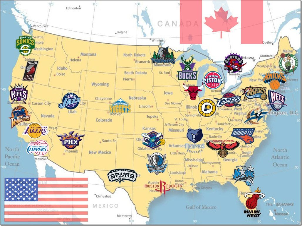 this is a picture of a map full of nba basketball teams all teams