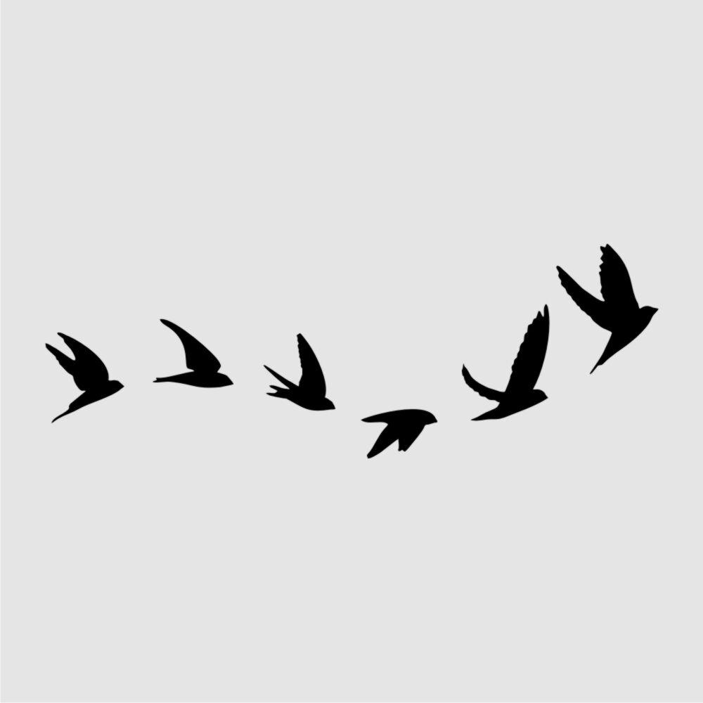 Flying Birds Reusable Stencil A3 A4 A5 Romantic Shabby Chic Craft Diy Bird118 Ebay Flying Bird Silhouette Bird Stencil Bird Silhouette Tattoos