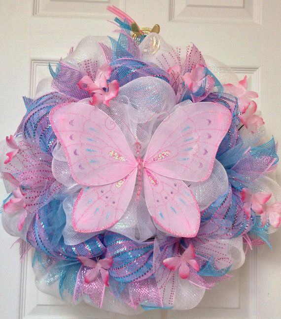Adorable, Handmade Butterfly Deco Mesh Wreath Spring, Summer,Mothers Day, Baby on Etsy, $75.00