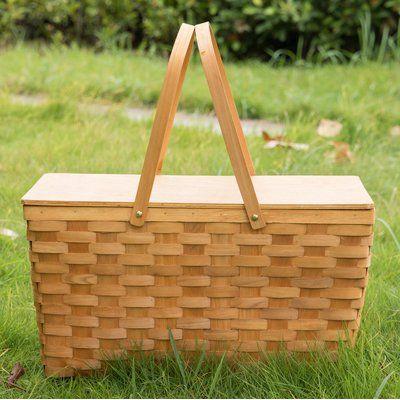 Freeport Park Wooden Lid Picnic Basket | Wayfair