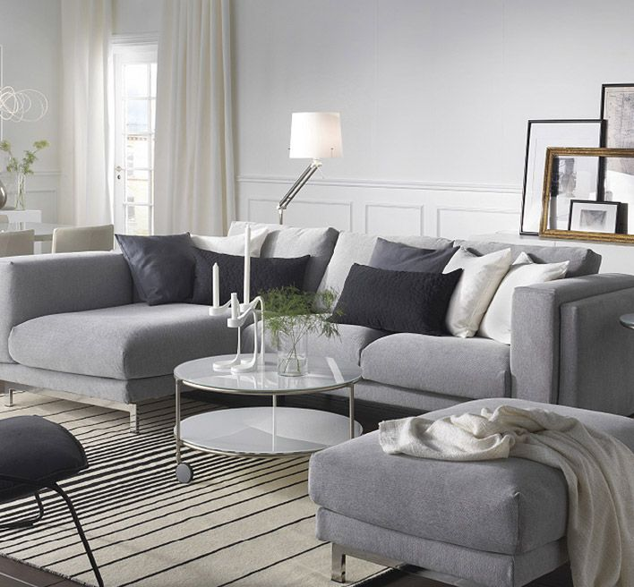IKEA NOCKEBY 3 sits soffa med schäslong med TENÖ ljusgrå klädsel For the Home Ikea living
