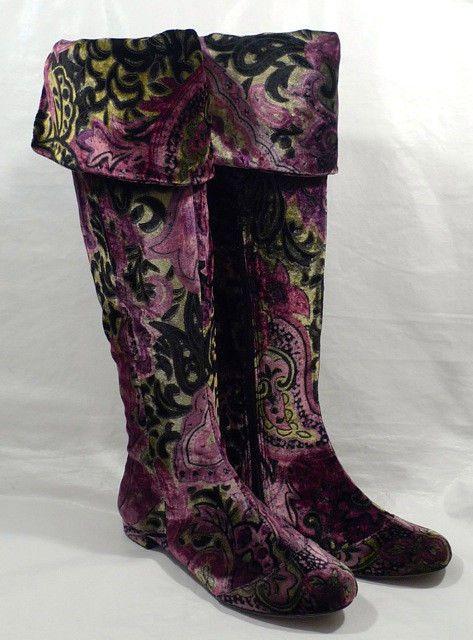 "BORN Crown ""Salia"" FANTASY mulicolor PAISLEY VELVET knee/over knee boots"