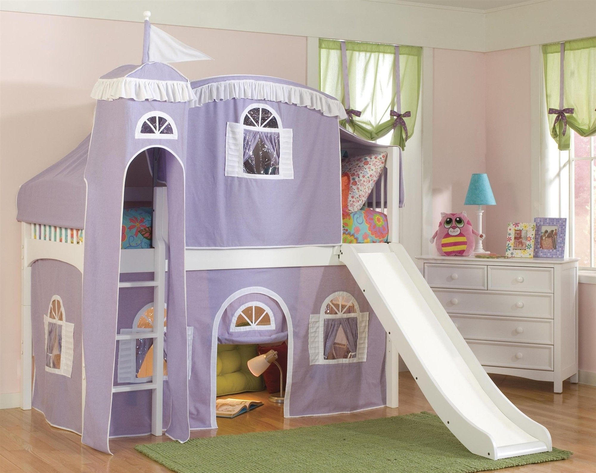 Lovely Purple Castle Tent Bunk Bed Curtains With White Stairs . : beds with slides and tents - memphite.com