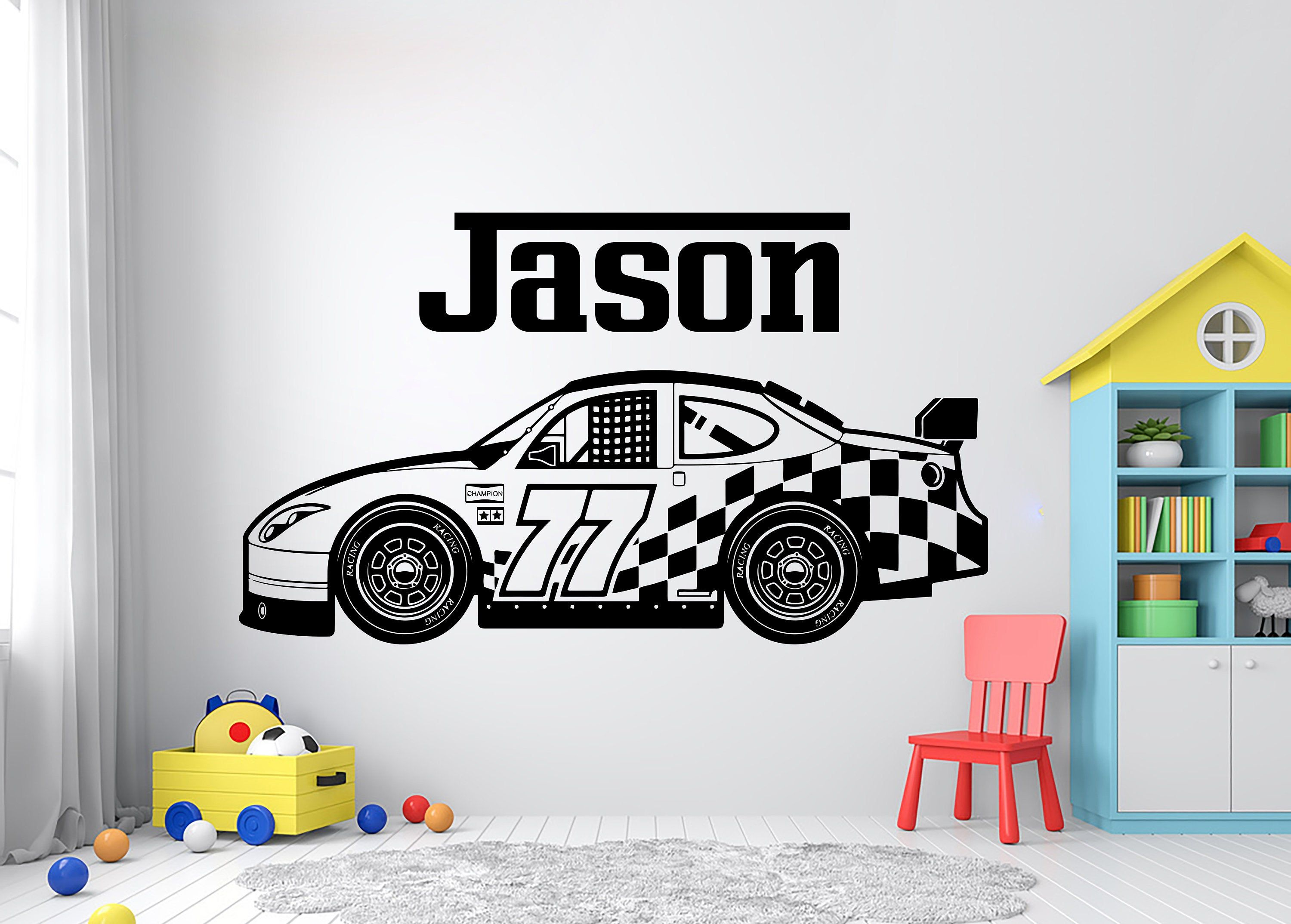 Personalized Name Racing Car Wall Decal Race Player Decal Custom Name Racing Vehicle Vinyl Wall Sticke Vinyl Wall Art Decals Vinyl Wall Stickers Decal Wall Art