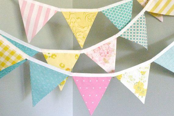 Riley Blake Aqua fabric wedding baby nursery photography Handmade bunting