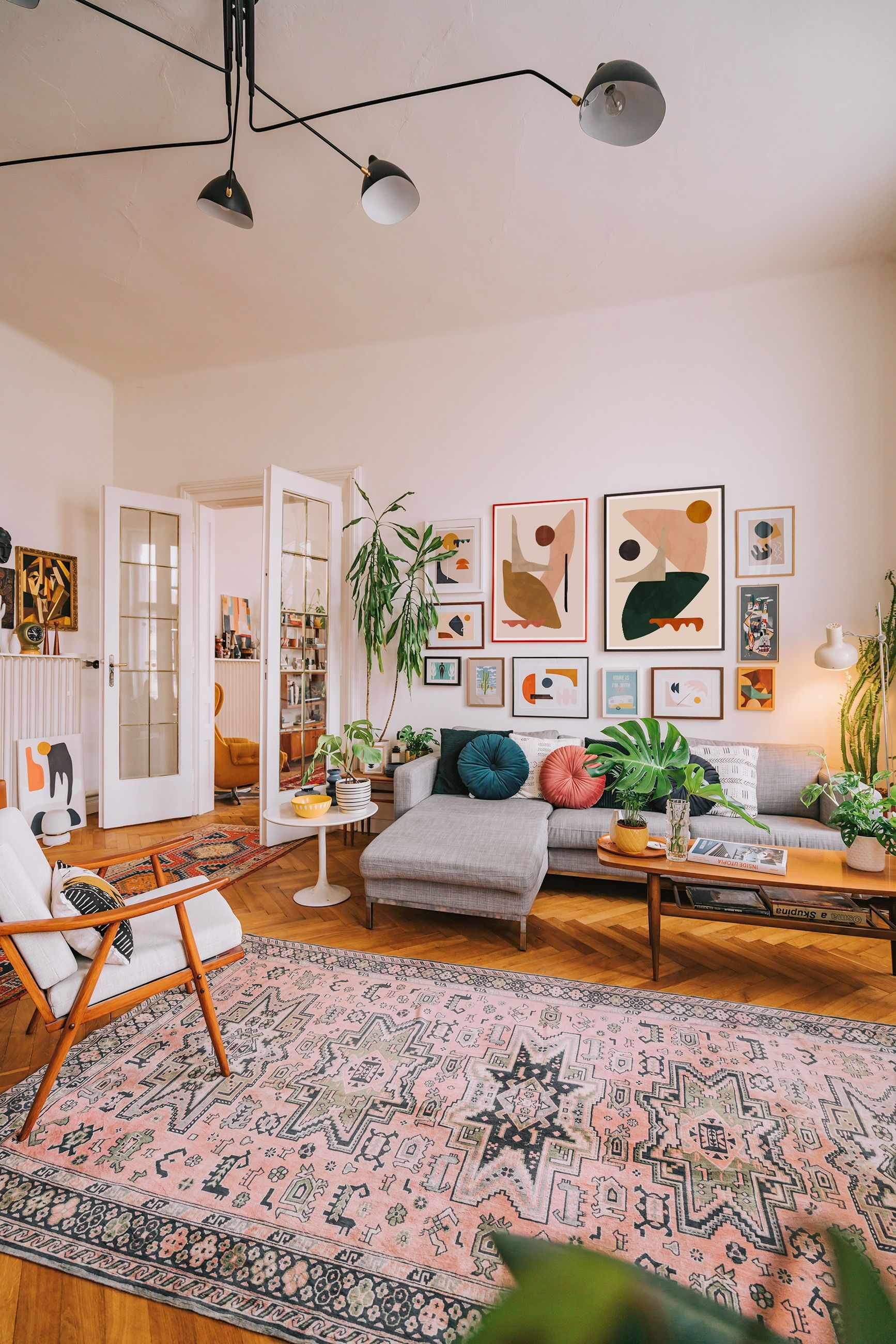 spacious mid century boho living room