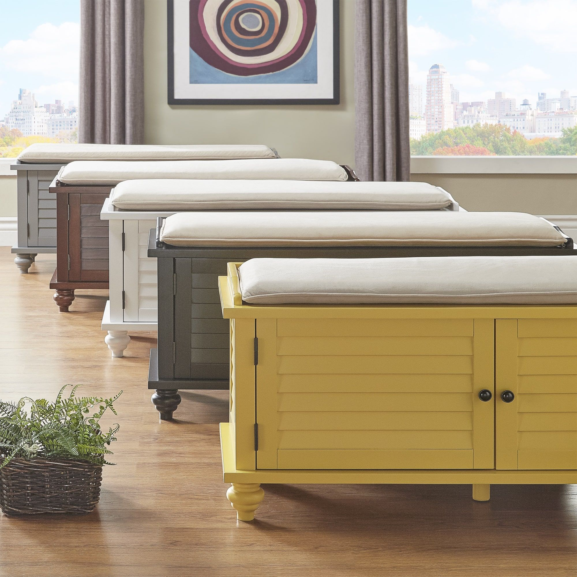 Maybelle Beige Velvet Cushioned Shutter Door Storage Bench by iNSPIRE Q  Classic by iNSPIRE Q