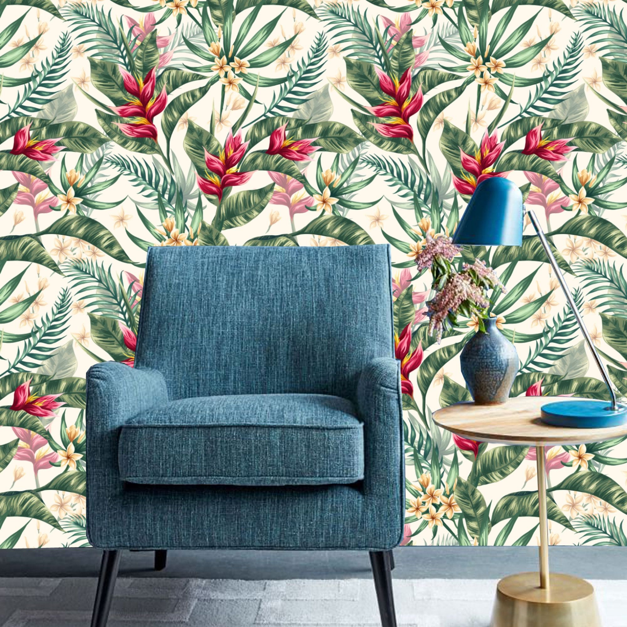 Leaf Tropical Wallpaper Prepasted Peel And Stick Wall Mural Etsy Wallpaper House Design Wall Decor Decor