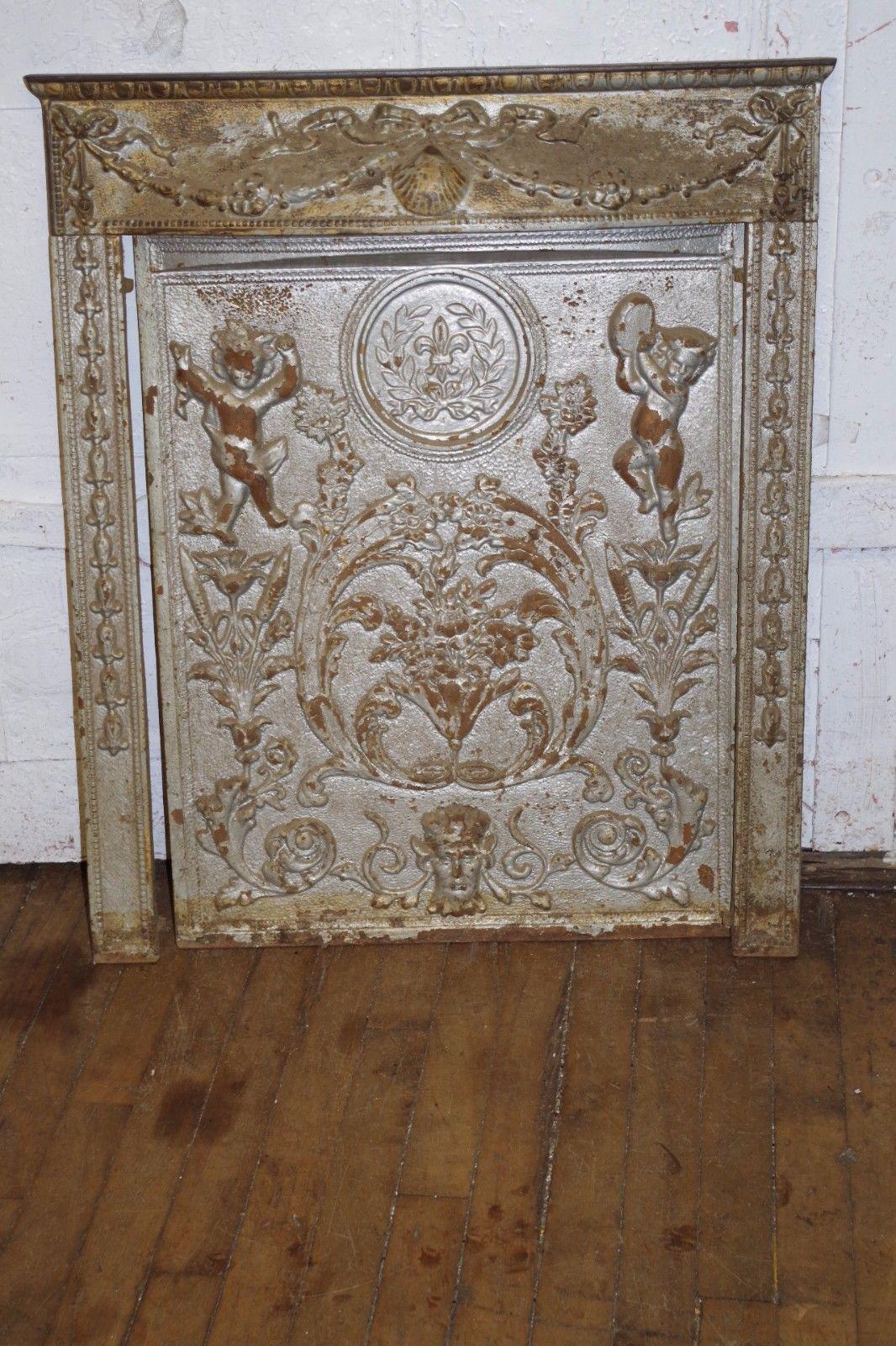 Antique Cast Iron Relief Ornate Cherubs Fireplace Hinged Door