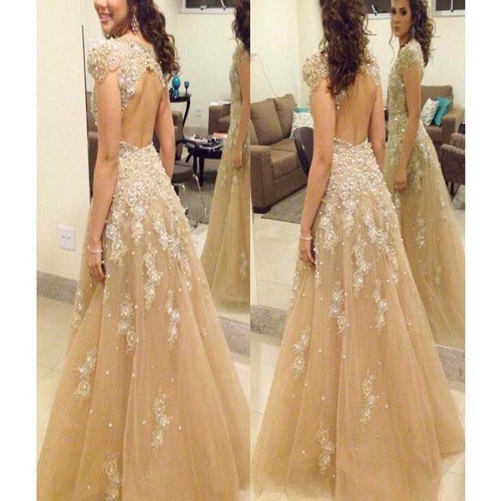 champagne cap sleeve beading sparkly open back prom gown