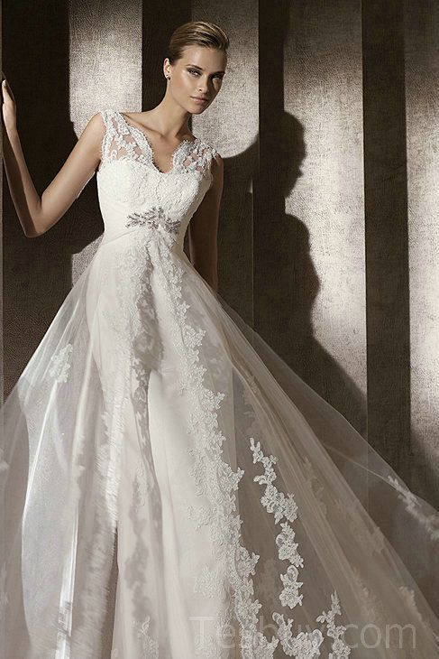 Satin Vintage Wedding Dress WIth Gorgeous Lace Overlay | bells ...
