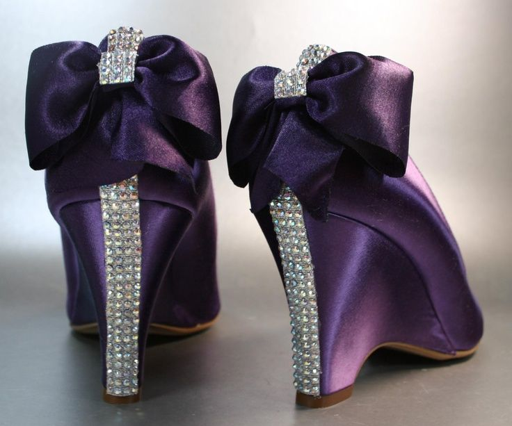 Plum Wedding Wedges With Rhinestone Strip On Heel And Matching Bow Design Your Pedestal Custom Accessories