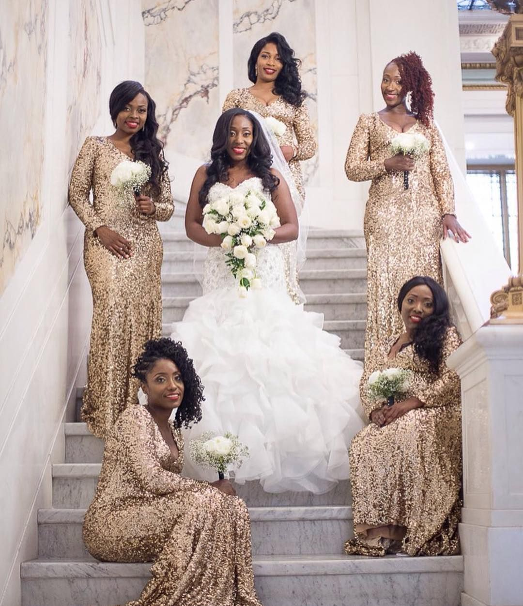 Beautiful Gold Wedding Dresses: Gold Sequence Gowns Are Trending! Love This Bride And Her