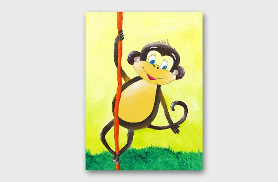 Paintings for kids rooms Zoo painting Monkey art by artbyasta | Etsy ...