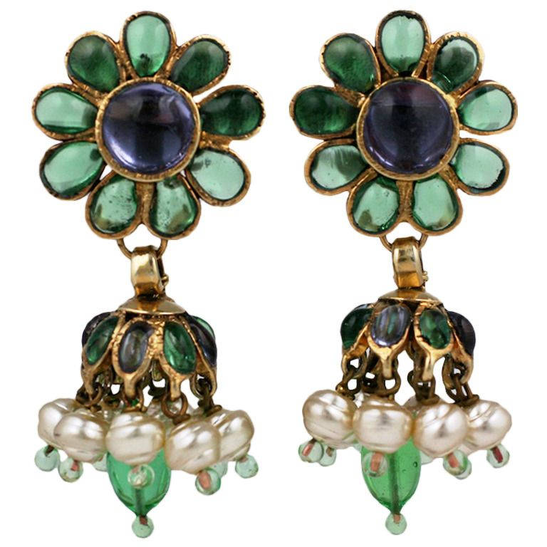 Chanel Anglo Indian Tiered Gripoix Earrings In 2019 Things To Wear Jewelry Indian Jewellery Design Earrings
