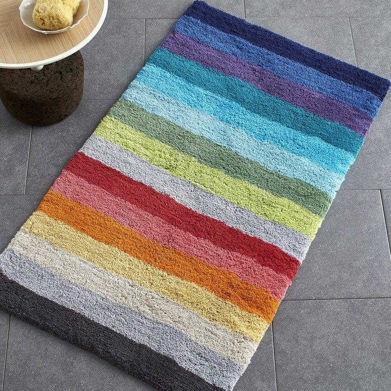 color bar bath rug who s afraid of a little brighten up