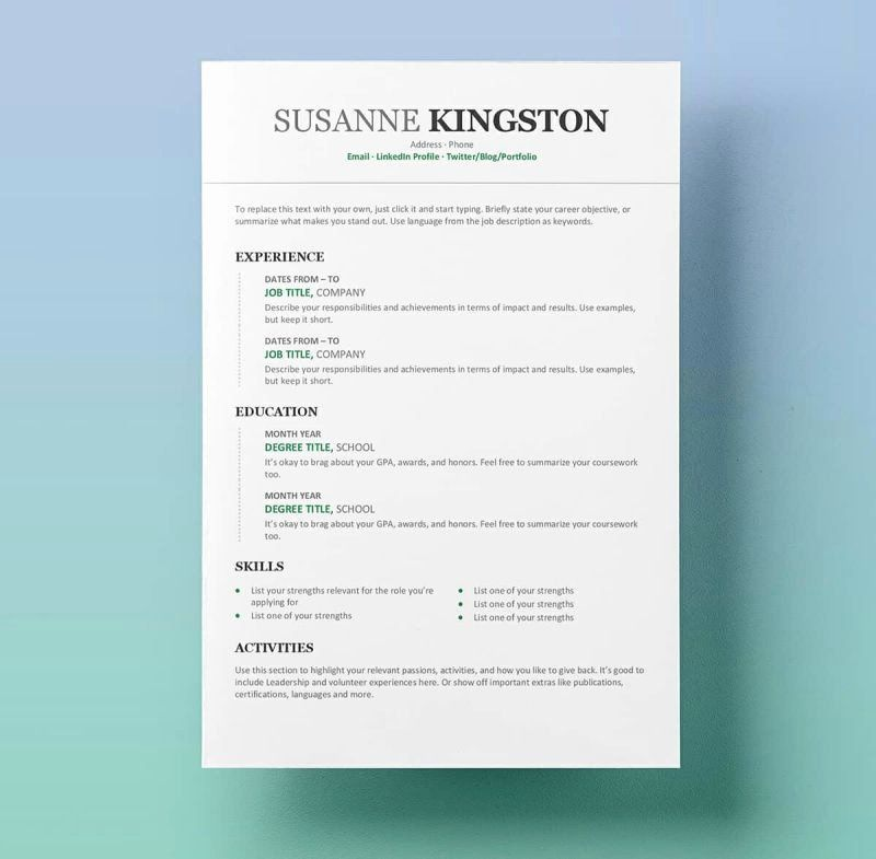 25 Contemporary Resume Templates Free In 2020 Resume Template Word Free Resume Template Word Microsoft Word Resume Template
