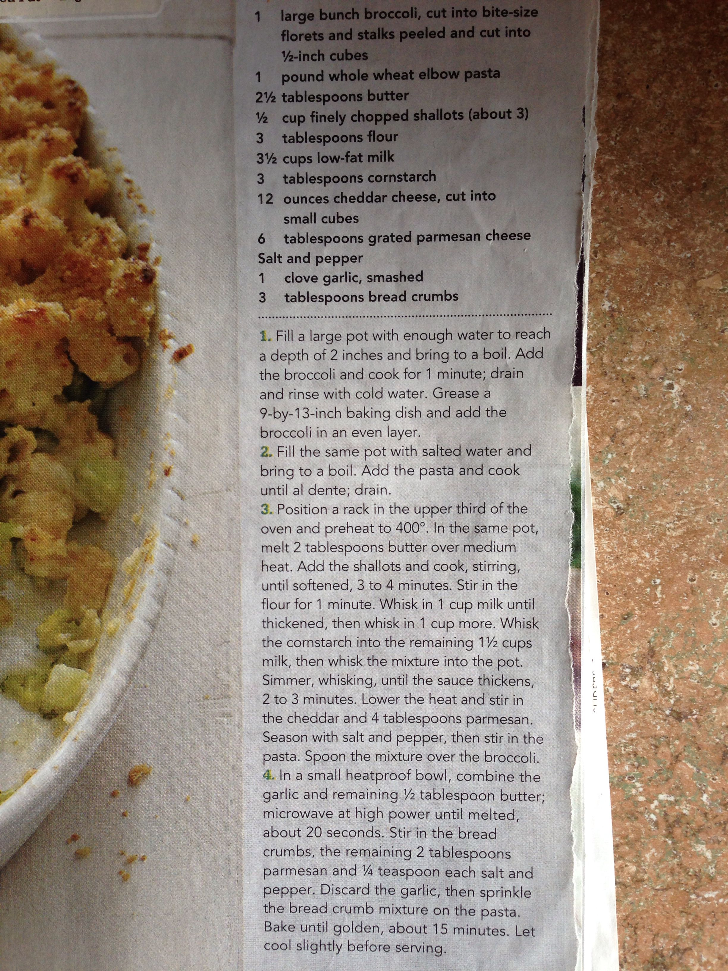 Baked macaroni and broccoli from Rachael Ray Mag