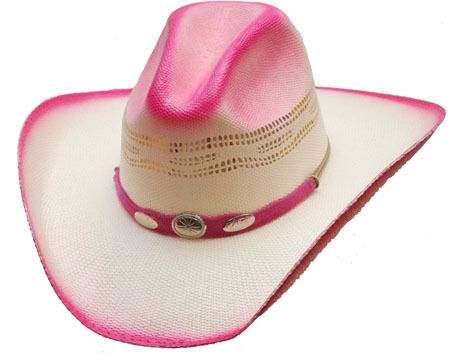 75e87e2bc0f86 Pink Ombre Cowboy Cowgirl Hat Straw Silver Conchos Hat Band Pageant Rodeo  Sz S M