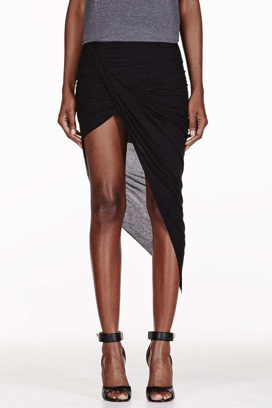 f3c80fe716 Helmut Helmut Lang Black Kinetic Asymmetrical Wrap Skirt | Skirts ...