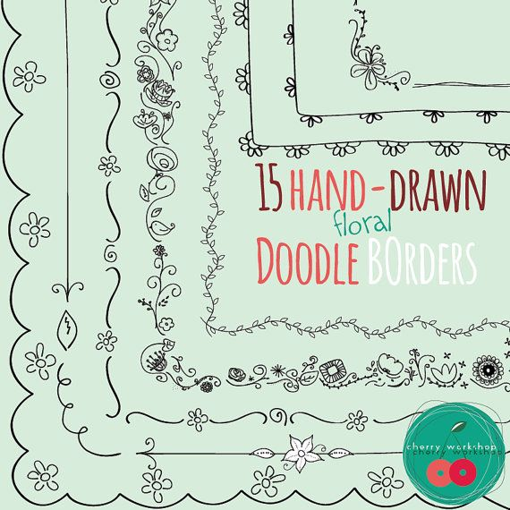 Doodle Borders Spring Doodle Borders Floral Hand Drawn Border