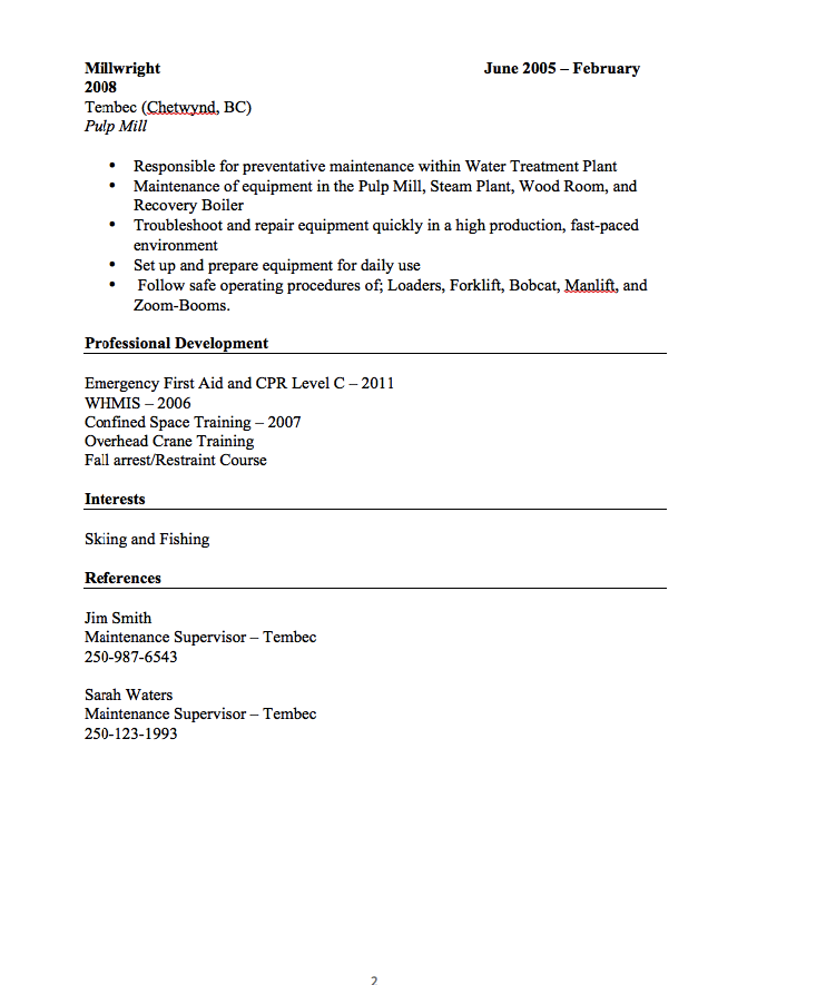 Resume Interests Examples Millwright Resume Sample  Httpresumesdesignmillwright