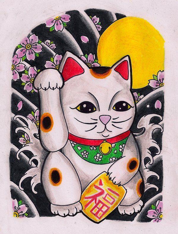 Maneki Neko By Kirzten On Deviantart Lucky Cat Tattoo Maneki Neko Cat Tattoo