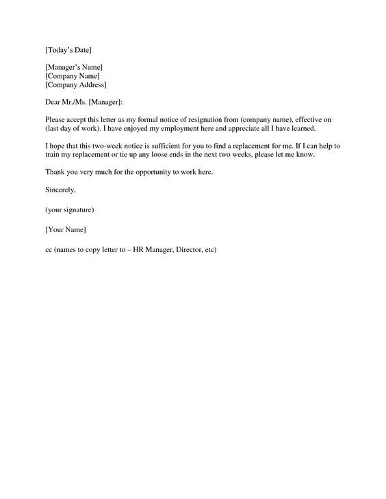 2 weeks notice letter Resignation Letter 2 Week Notice – Writing Letters of Resignation