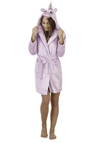 Ladies Lilac Sparkle Fleece Unicorn Hood Short Bath Robe