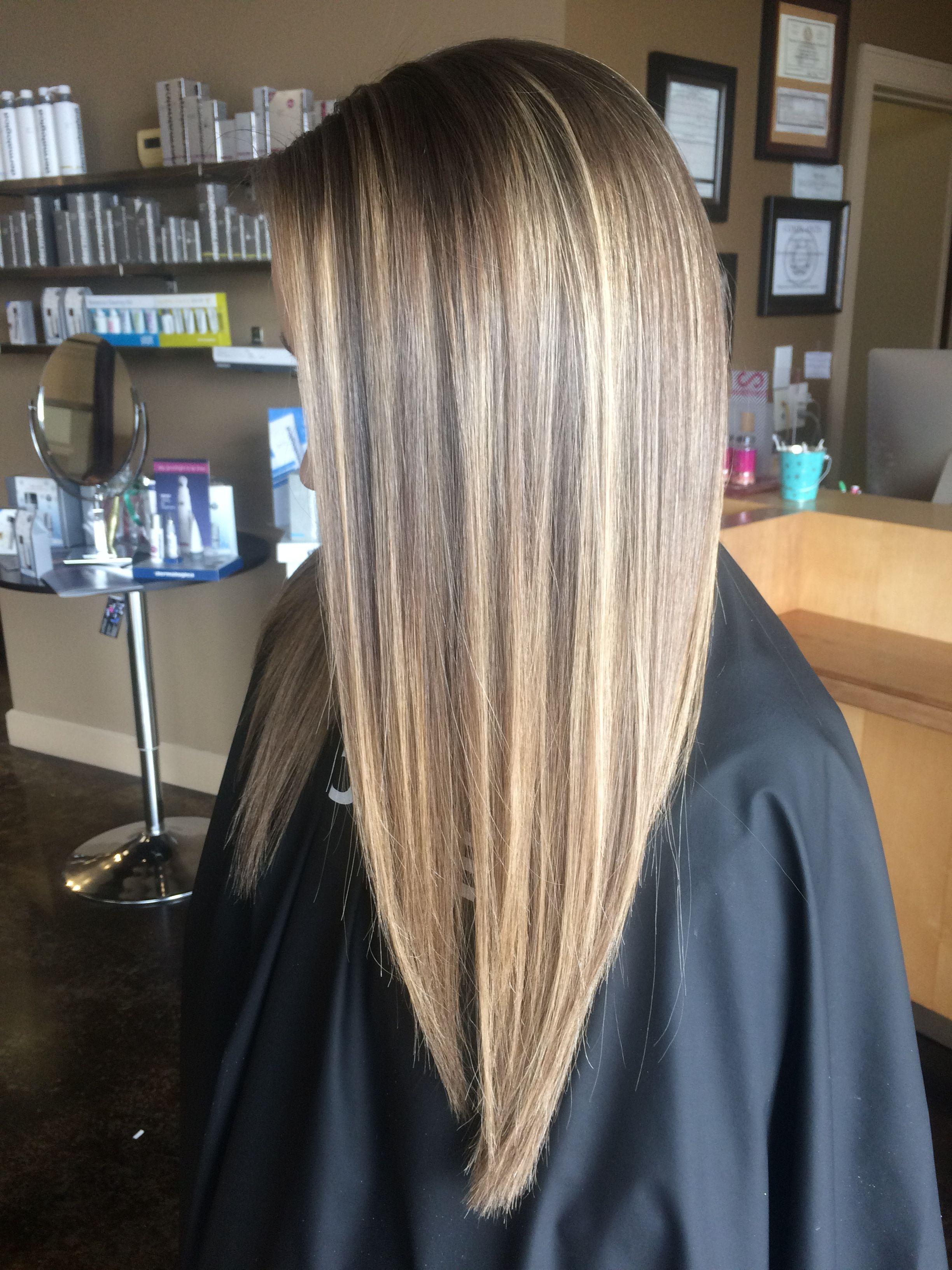 natural highlights long hair straight hair