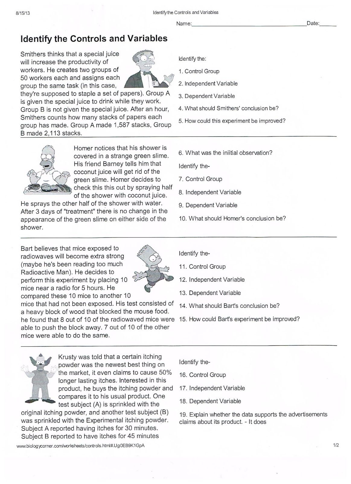 Scientific Method Worksheets Pdf