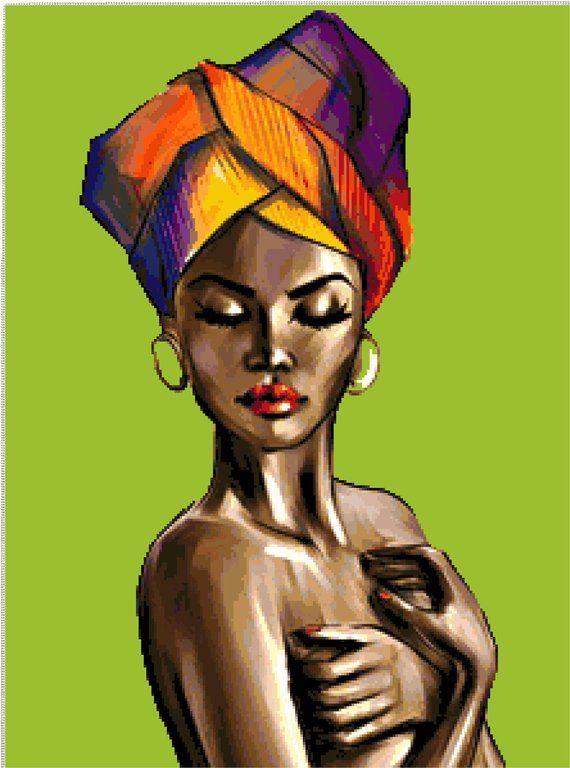 Buy 2 Get 1 Free Beautiful African Lady 008 Cross Stitch
