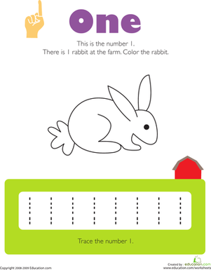 Printables Number One Worksheet For Preschoolers tracing numbers 1 colors number worksheets and the ojays lots of free for all ages kids color a rabbit trace several times to practice counting identifying and