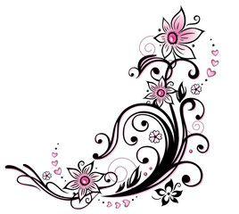 Vektor: Sommer, Blumen, pink, schwarz