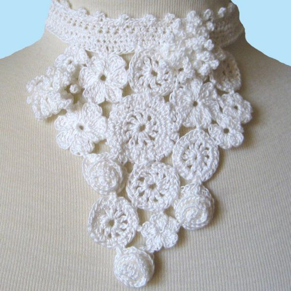Crochet Lace Floral Necklace - Bridal Flowers by KnittingGuru is in ...