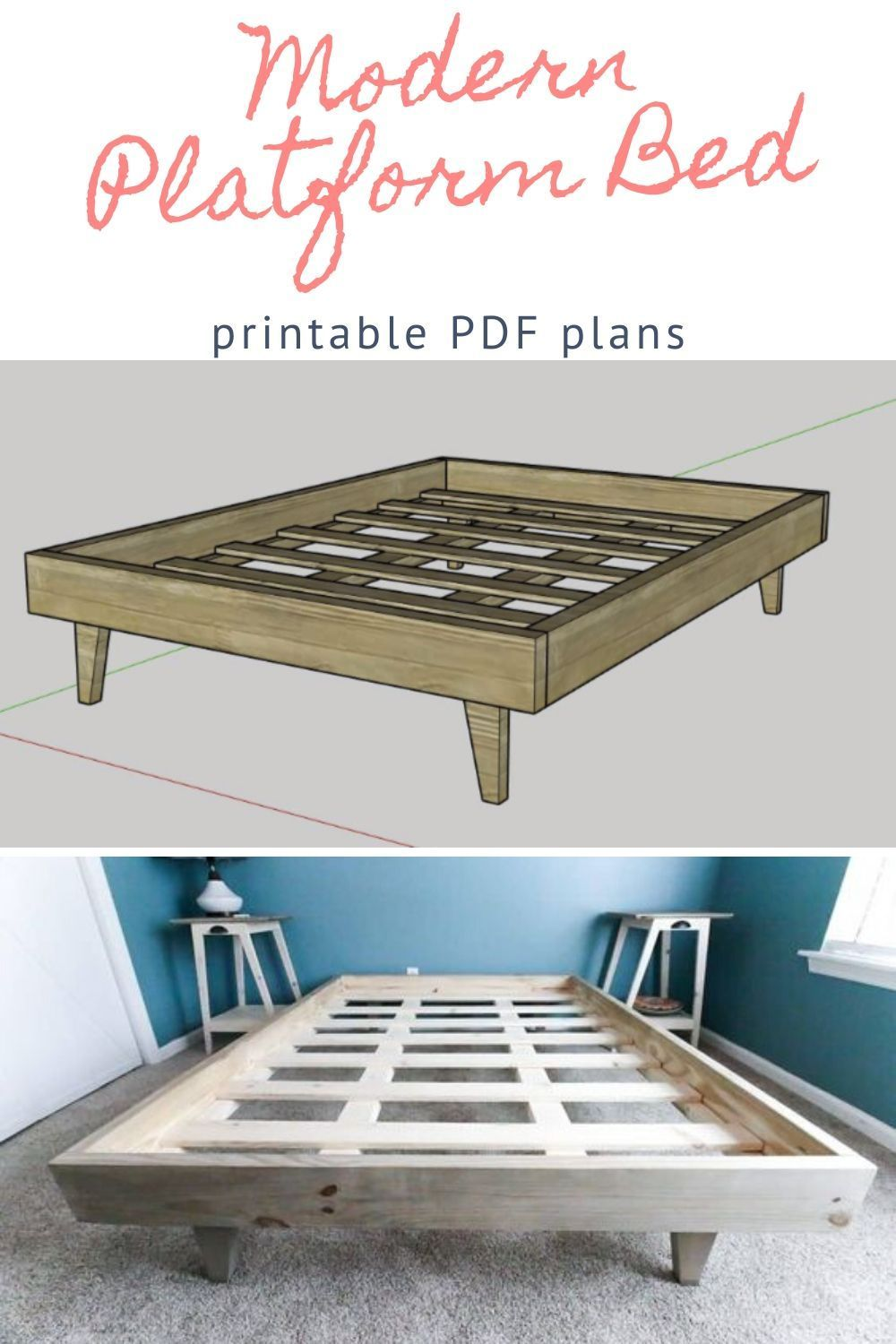 Double Full Size Modern Platform Bed Printable Pdf Woodworking