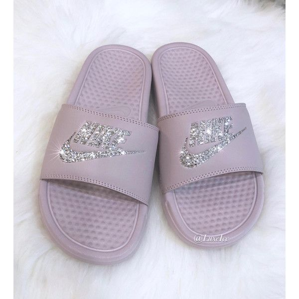 8966671de Nike Benassi Jdi Slides Flip Flops Particle rose/metallic Silver... ($65) ❤  liked on Polyvore featuring shoes, sandals, flip flops, silver, women's  shoes, ...