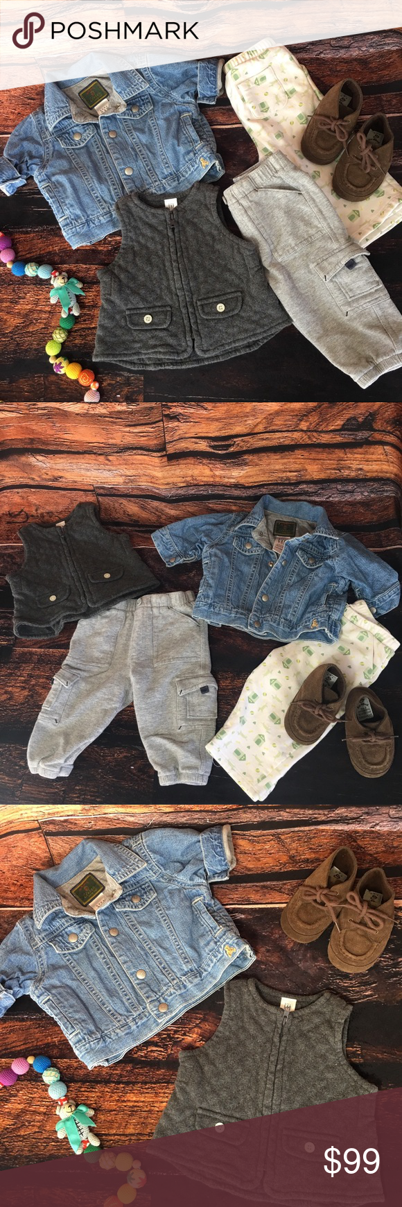 261587c61 Baby Gap Lot Denim Jacket Cargo Boy Pants 3mo 6mo Picturing a lined jean  coat,