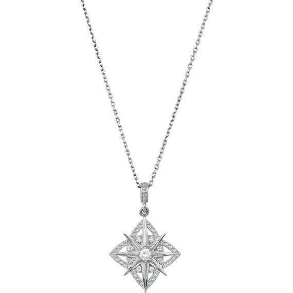 Sterling silver diamond necklace pendant 18 vintage art deco sterling silver diamond necklace pendant 18 vintage art deco mozeypictures Gallery