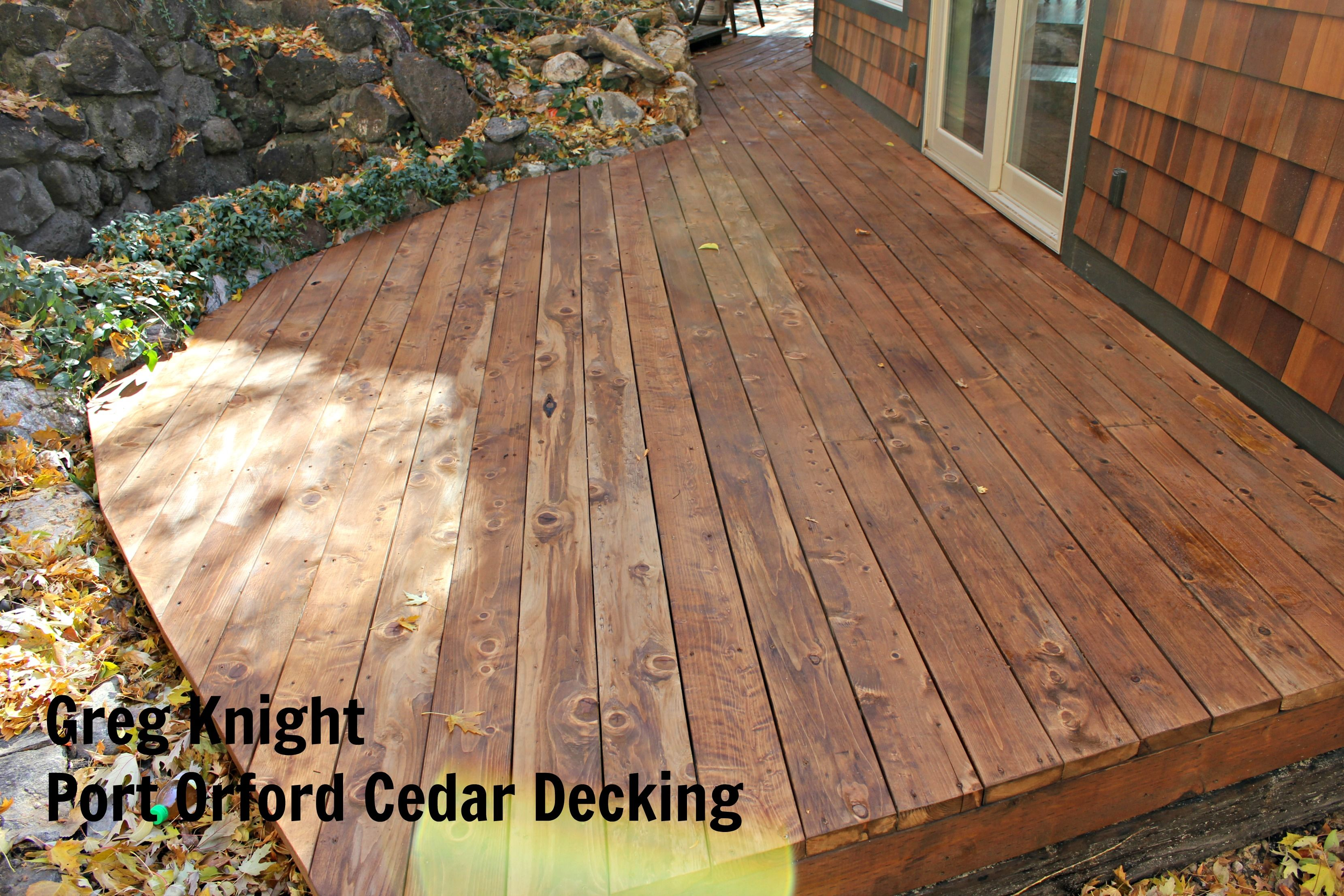 Take A Look At This Beautiful Cedar Deck From Contestant Greg Knight This Decking Is Very Durable And Holds Up Well Agai Cedar Deck Cedar Siding Rustic