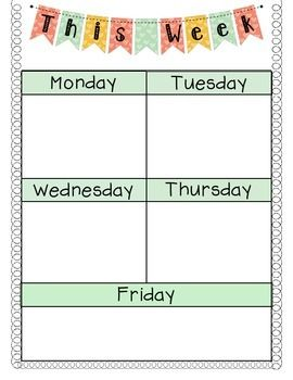 Monday Friday Agenda Sheet Great For Writing Homework Or Daily