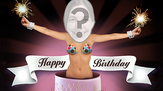 Sexy Lady Popping Out Of Cake eCard Personalized Birthdays