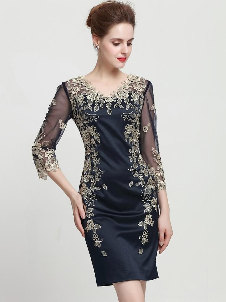 Buy elegant embroidery vneck long sleeve mesh bodycon