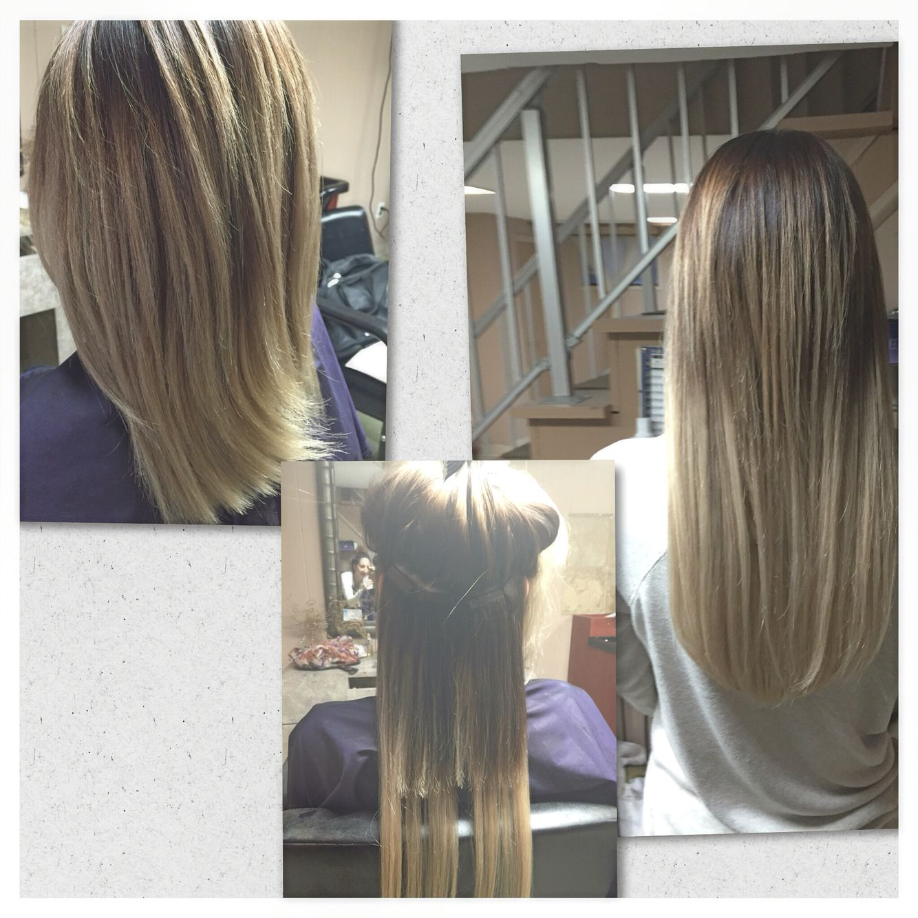 Before During And After 18inch Tape In Hair Extensions Looking