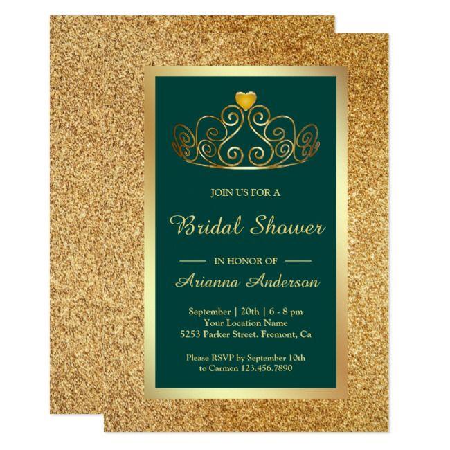 Gold Glitter Tiara Princess Teal Bridal Shower Invitation | Zazzle.com #goldglitterbackground