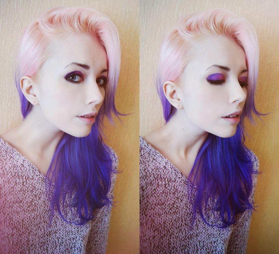 Pink and dark blue hair hair pinterest blue hair rainbow hair
