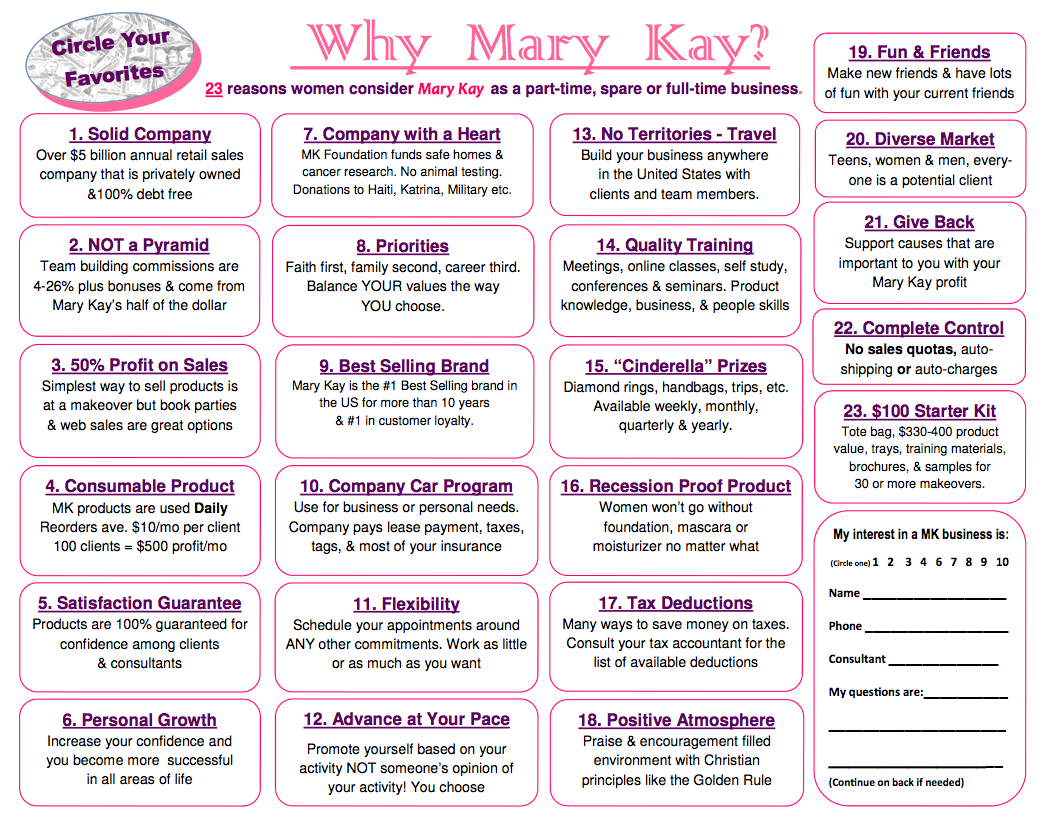 Mary Kay Business Printable