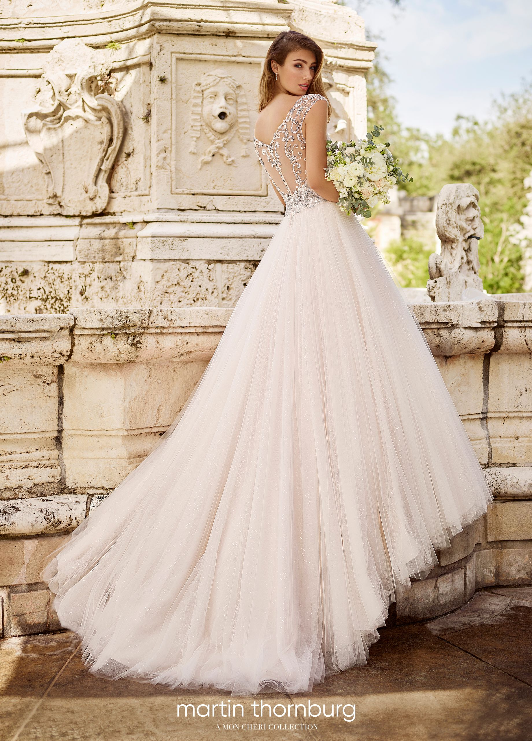 Lace and Tulle Ballgown Wedding Dress with Beaded Illusion Cap